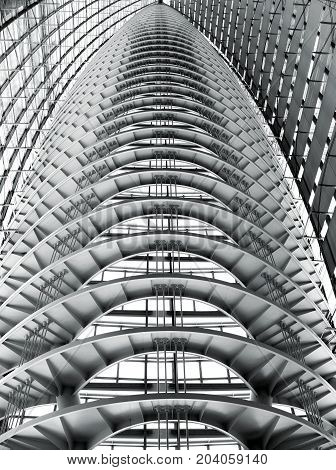 TOKYO JAPAN - MARCH 31, 2012: Modern roof detail of Tokyo International Forum, a multi-purpose exhibition center in Tokyo, Japan. Black and white abstract looking picture