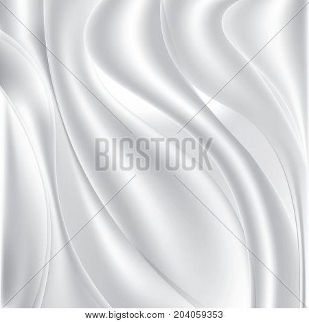 White silk fabric. Textile background. Stock vector illustration