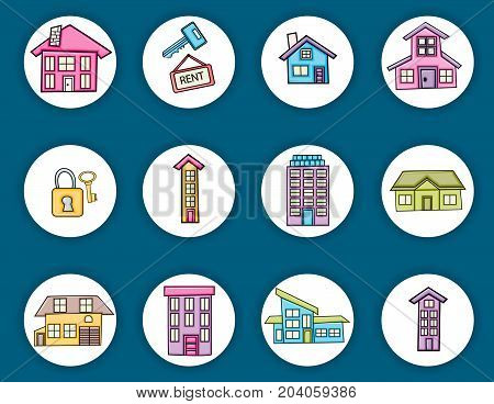 Real estate icons concept  cartoon doodles sticker design. Hand drawn colorful vector illustration collection.