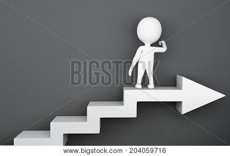 3D White People Standing On The Arrow Ladder And Writing On The Empty Wall