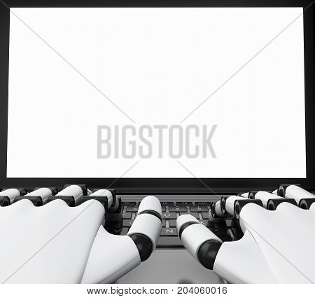 3D Robotic Hands Typing On A Laptop With White Screen.