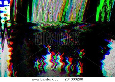 Glitch psychedelic background. Old TV screen error. Digital pixel noise abstract design. Photo glitch. Television signal fail. Technical problem grunge wallpaper. Colorful noise. Retro