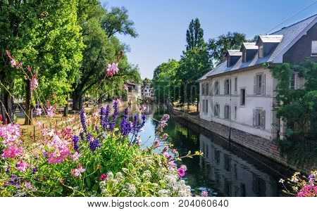 One of the many canals that run through the Petite France district and the Alsace regions.