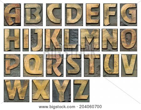full alphabet vintage wooden letterpress set with capital letters isolated on white detailed - each letter has 1200 pix in height