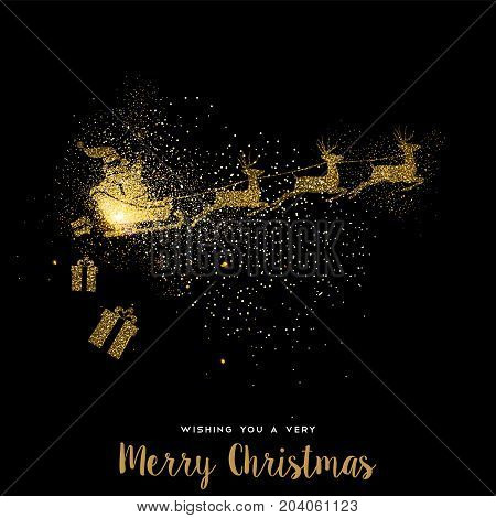 Christmas Gold Glitter Santa Claus Holiday Card
