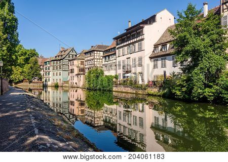 One of the many canals that run through the Petite France district in Strasbourg France.