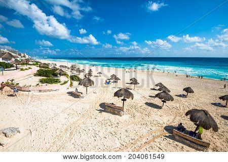 Highly detailed Cancun beach panorama Yucatan Mexico