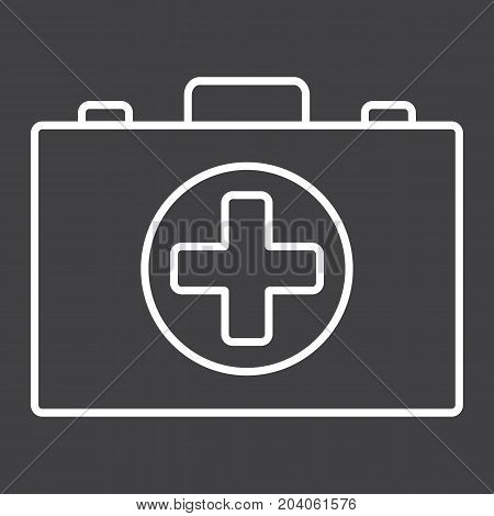 First aid kit box line icon, medicine and healthcare, medical case sign vector graphics, a linear pattern on a black background, eps 10.