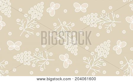Delicate seamless pattern of the butterflies and wild berries