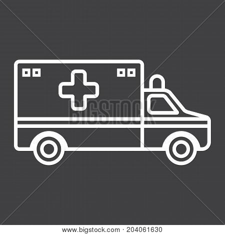 Ambulance line icon, medicine and healthcare, transport sign vector graphics, a linear pattern on a black background, eps 10.