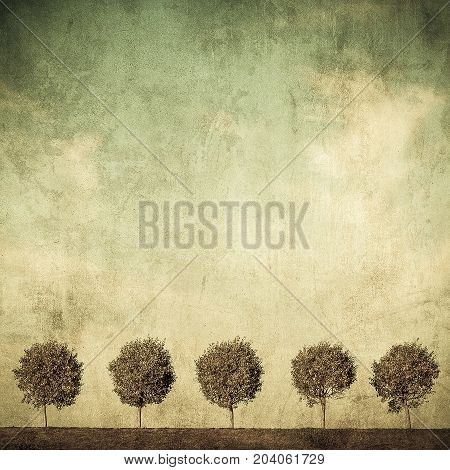Highly detailed mage of trees over grunge background