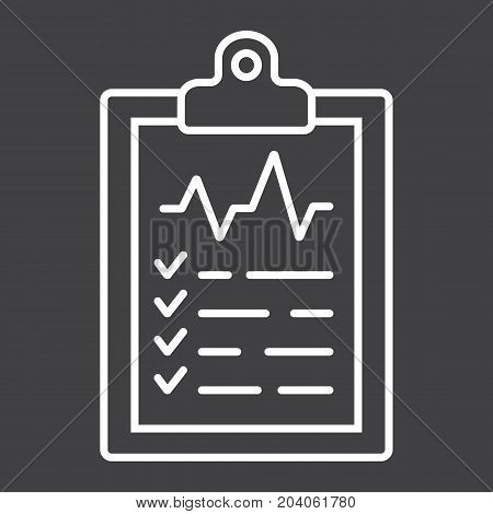 Medical clipboard line icon, medicine and healthcare, document sign vector graphics, a linear pattern on a black background, eps 10.