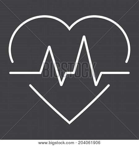 Heartbeat line icon, medicine and healthcare, pulse sign vector graphics, a linear pattern on a black background, eps 10.