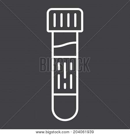 Blood test line icon, medicine and healthcare, test tube sign vector graphics, a linear pattern on a black background, eps 10.