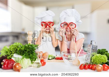 Girl cooking cook together mother fun beautiful