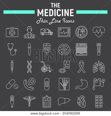 Medicine line icon set, medical symbols collection, healthcare vector sketches, logo illustrations, anatomy signs linear pictograms package isolated on black background, eps 10.
