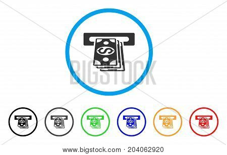 ATM Cashout icon. Vector illustration style is a flat iconic atm cashout grey rounded symbol inside light blue circle with black, gray, green, blue, red, orange color variants.