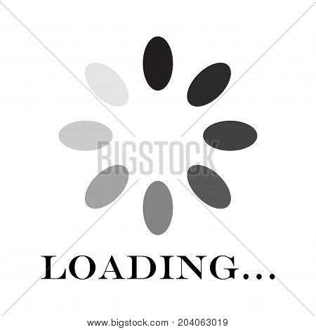 Circular loading sign, isolated on white background, vector illustration.