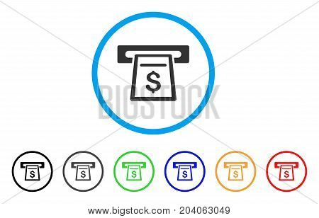 Cash Machine icon. Vector illustration style is a flat iconic cash machine grey rounded symbol inside light blue circle with black, gray, green, blue, red, orange color variants.