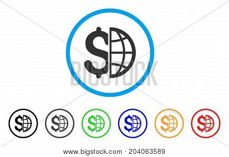Global Business icon. Vector illustration style is a flat iconic global business grey rounded symbol inside light blue circle with black, gray, green, blue, red, orange color versions.