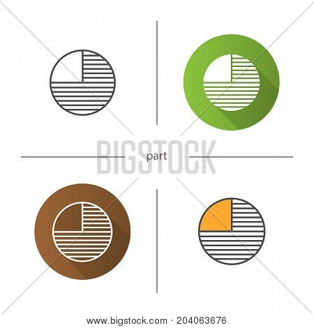 Circle diagram with missing part icon. Flat design, linear and color styles. Portion abstract metaphor. Isolated vector illustrations