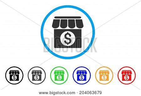 Market Building icon. Vector illustration style is a flat iconic market building gray rounded symbol inside light blue circle with black, gray, green, blue, red, orange color variants.