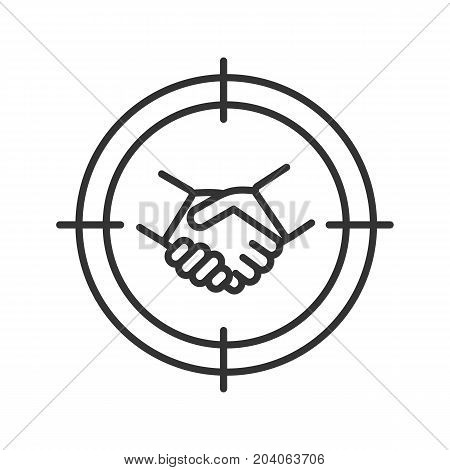 Business partner searching linear icon. Investors finding. Aim on handshake thin line illustration. Business agreement contour symbol. Vector isolated outline drawing