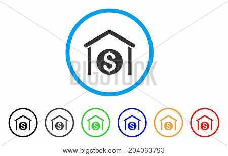 Money Storage icon. Vector illustration style is a flat iconic money storage grey rounded symbol inside light blue circle with black, gray, green, blue, red, orange color additional versions.