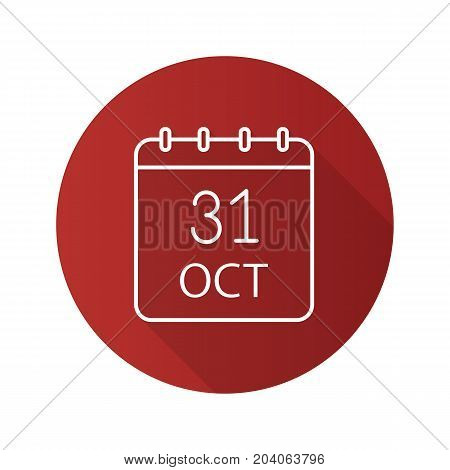 Halloween date flat linear long shadow icon. World Savings Day. Thirty first of October. Vector outline symbol