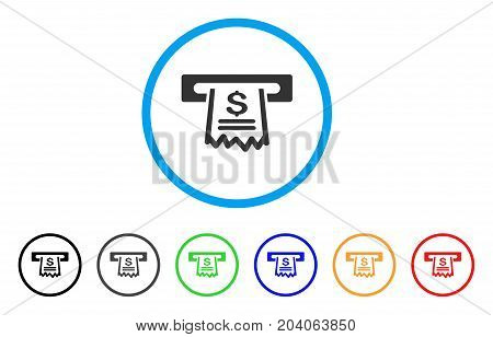 Paper Receipt Machine icon. Vector illustration style is a flat iconic paper receipt machine gray rounded symbol inside light blue circle with black, gray, green, blue, red, orange color versions.