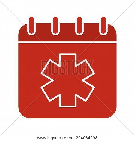 World Ambulance Day glyph color icon. Calendar page with star of life. Silhouette symbol on white background. Negative space. Vector illustration