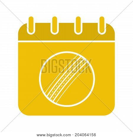 Cricket championship date glyph color icon. Calendar page with cricket ball. Silhouette symbol on white background. Negative space. Vector illustration