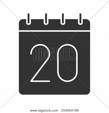 Twentieth day of month glyph icon. Date silhouette symbol. Wall calendar with 20 sign. Negative space. Vector isolated illustration
