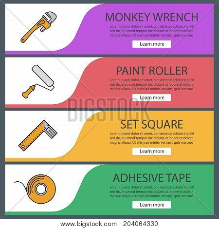 Construction tools web banner templates set. Monkey wrench, paint roller, set square, adhesive tape roll. Website color menu items. Vector headers design concepts