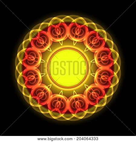 Circle of twisted luminous red yellow elements for design. Raster copy.