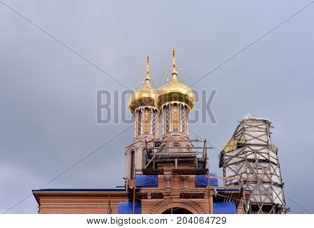 Church in microdistrict Ribatskoe on the outskirts of St. Petersburg Russia.