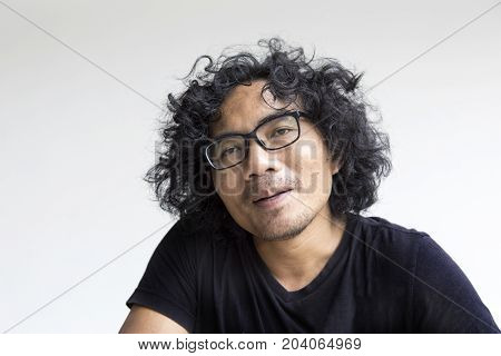 Asian Man Face Action On White