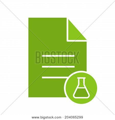 Medical test results glyph color icon. Text document with lab flask. Silhouette symbol on black background. Negative space. Vector illustration