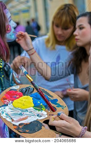TIMISOARA ROMANIA - SEPTEMBER 8 2017: Face and body painting of a woman. 3D art symbolizing on live at the street inside the CheckART Carnival organized by the City Hall Timisoara. Liberty Square.