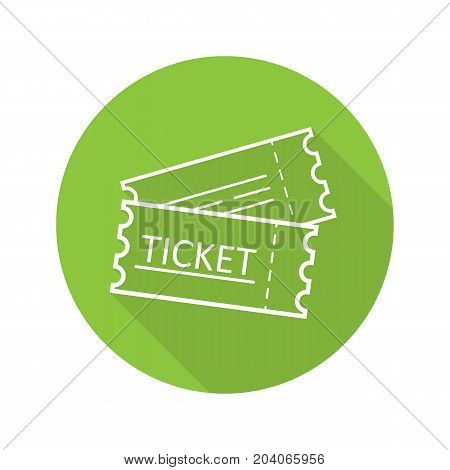 Tickets flat linear long shadow icon. Cinema, flight or sport event tickets. Vector outline symbol