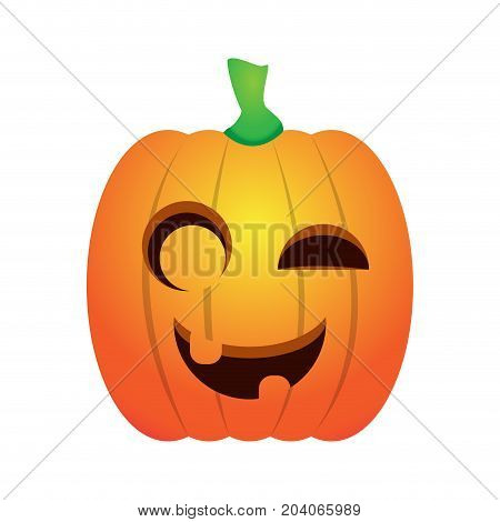 Isolated happy jack-o-lantern on a white background, Vector illustration