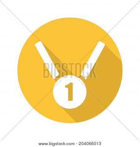 Gold medal flat design long shadow glyph icon. 1st place medal. Vector silhouette illustration