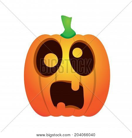 Isolated scared jack-o-lantern on a white background, Vector illustration
