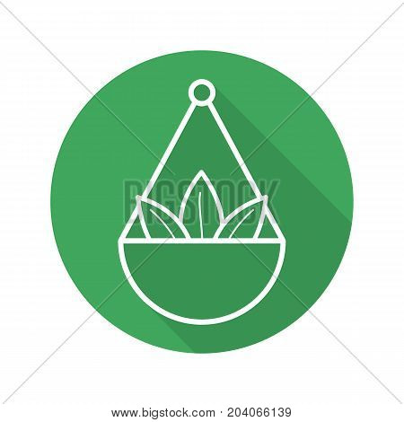 Apothecary herbs in scalepan. Flat linear long shadow icon. Loose tea leaves. Vector outline symbol
