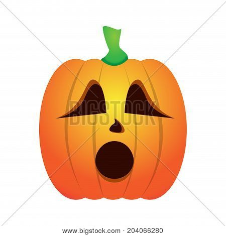 Isolated worried jack-o-lantern on a white background, Vector illustration