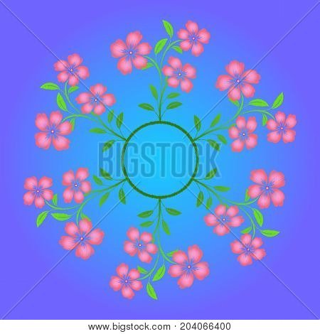 Embroidered pink flowers on blue background. Raster copy.