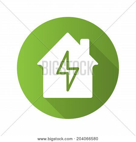 Home electrification flat design long shadow glyph icon. Electric utilities. House with lightning bolt inside. Vector silhouette illustration