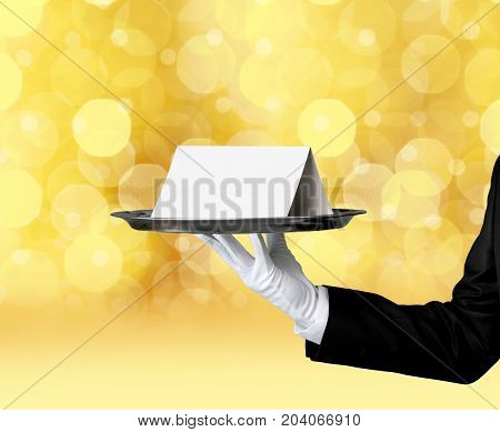 Waiter card note note card white background bow tie formal wear