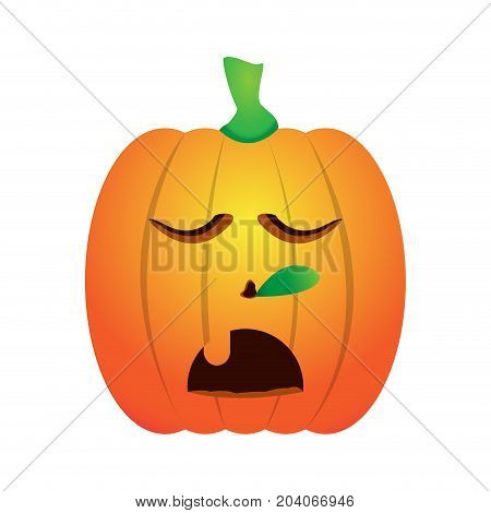 Isolated asleep jack-o-lantern on a white background, Vector illustration
