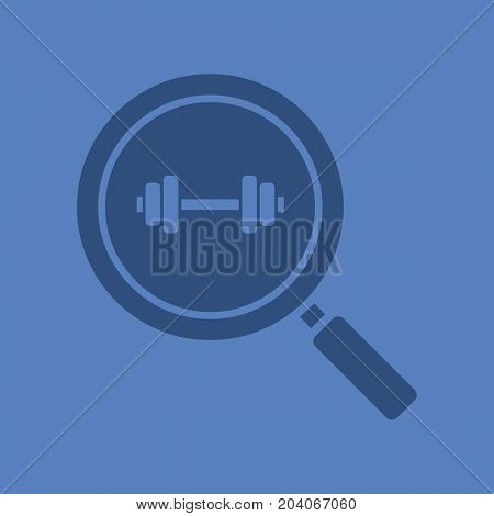 Gym search glyph color icon. Silhouette symbol. Magnifying glass with gym barbell. Fitness center nearby. Negative space. Vector isolated illustration